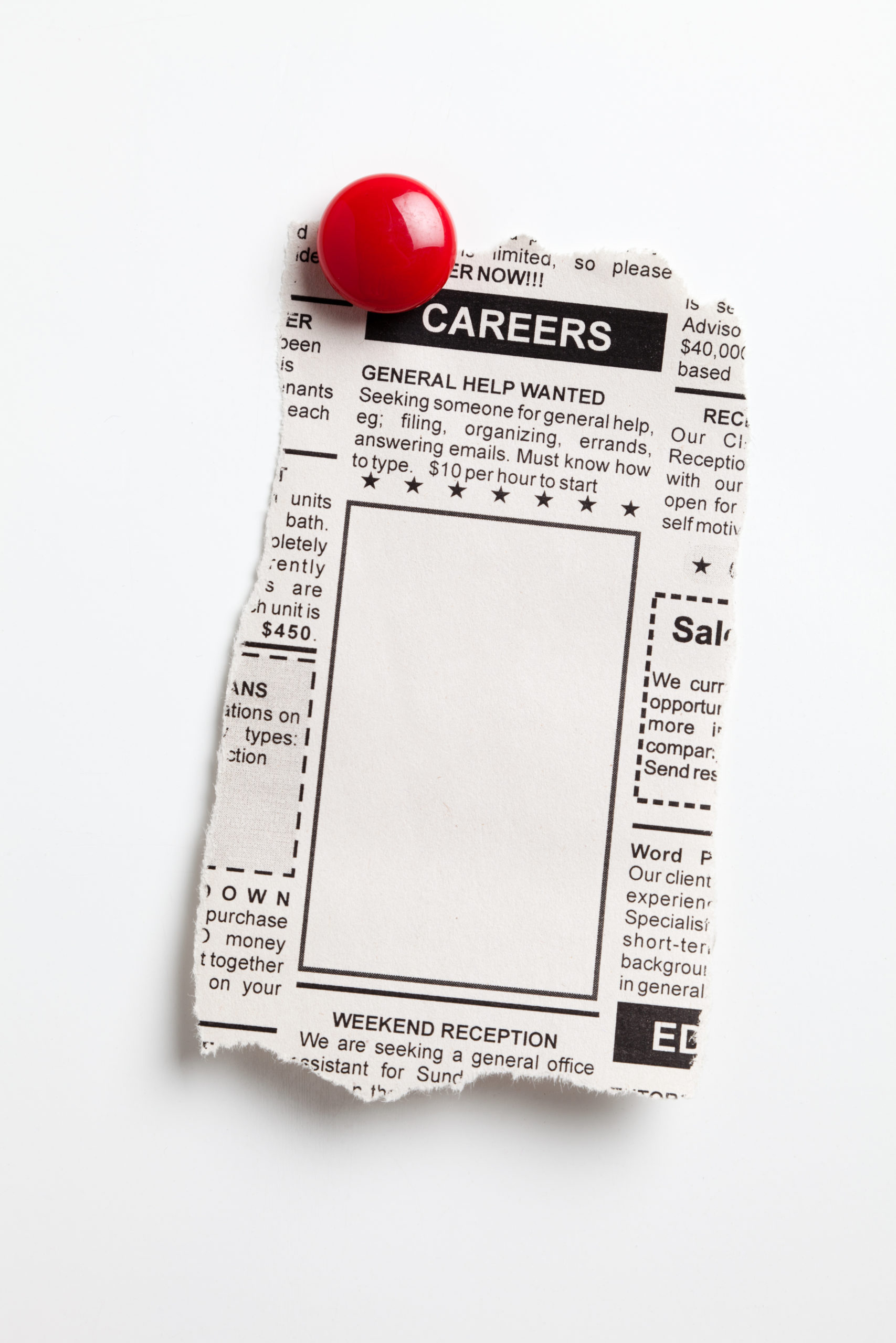 Newspaper clipping with a blank slot under category careers